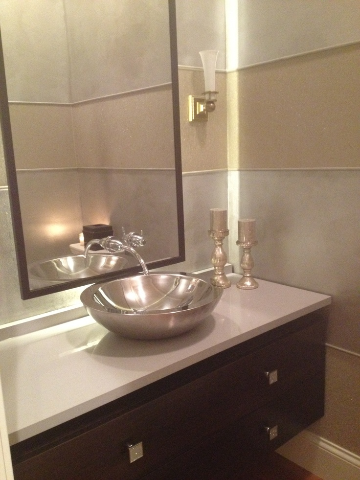 Chrome Vessel Sink Light Behind Mirror Swarovski Crystal Pulls Faucet Coming Out Of