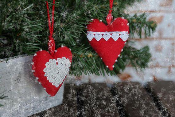 Christmas tree hanging fabric plush ornaments. Eco toys