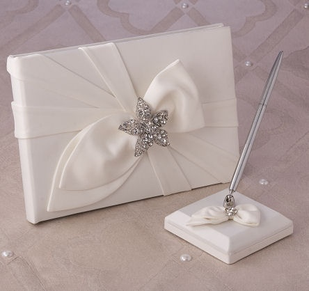 Eva Guest Book by Beverly Clark in White or Ivory Satin $58.95