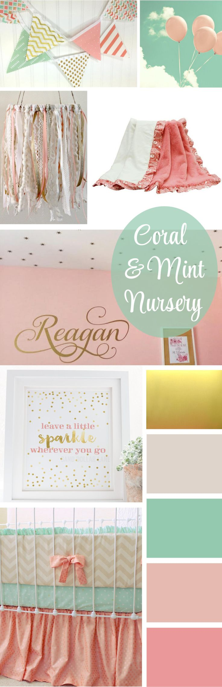 beautiful coral, blush, mint and gold nursery ideas  – Baby C