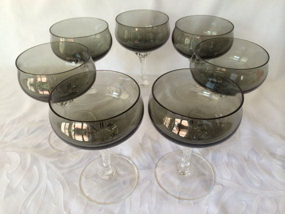 Champagne Coupe, Gray Color, Sasaki Crystal, Vintage