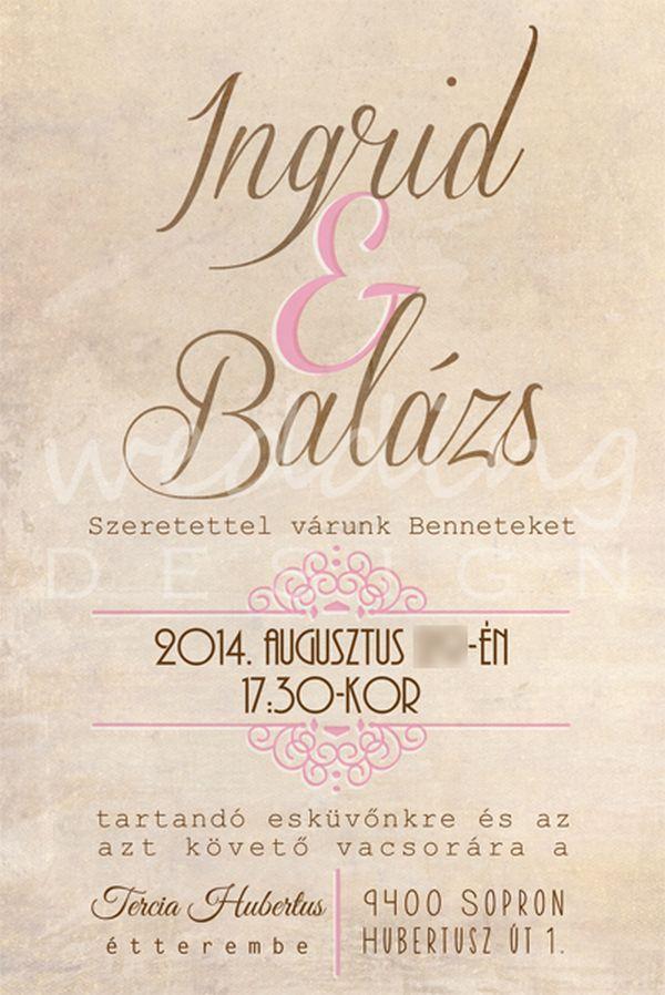 Rustic wedding invitation card with different fonts - Rusztikus esküvői meghívó különböző betűtípusokkal