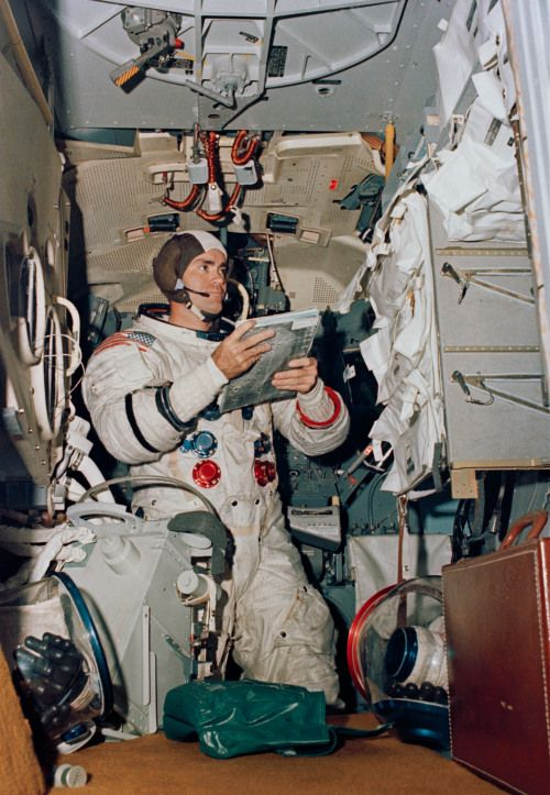 (4 April 1970) — Astronaut Fred W. Haise Jr., Apollo 13 lunar module pilot, participates in simulation training in preparation for the scheduled lunar landing mission. He is in the Apollo Lunar Module Mission Simulator in the Kennedy Space Center's Flight Crew Training building.
