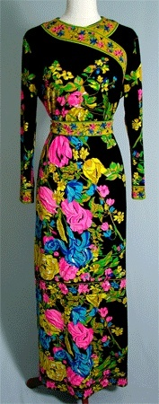 70's Mr. Dino Signature Jersey Knit Maxi Dress Floral Print