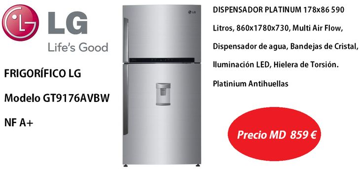 ¿Buscando un frigorífico de ancho especial? Te presentamos este nuevo modelo de LG http://www.materialdirecto.es/es/frigorificos-dos-puertas/64405-lg-frigo-gt9176avbw.html