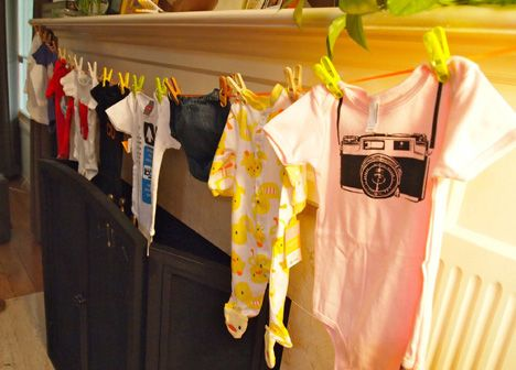 BABY SHOWER: Each guests brings a onesie (that describes herself) and the mom has to guess who it is from. Cute game!