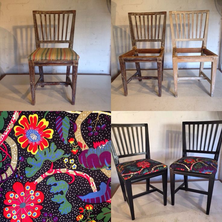 Old Swedish dining chairs transformed with a paint job and Josef Frank fabric.