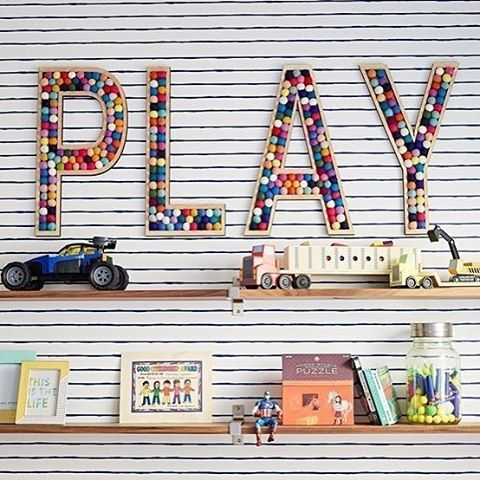 You don't have to tell us twice - Fun playroom wall decor!   Design by @jandjdesigngroup