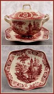 RED & CREAM TRANSFERWARE VICTORIAN COUNTRYSIDE TOILE LIDDED TUREEN DISH w/ PLATE