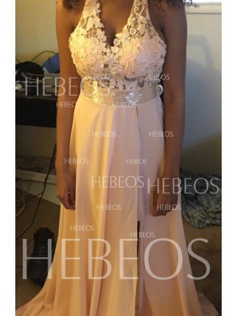0b6270a88d3c A-Line/Princess Halter Lace Sleeveless Long Chiffon Dresses - Formal Dresses  - Hebeos Online