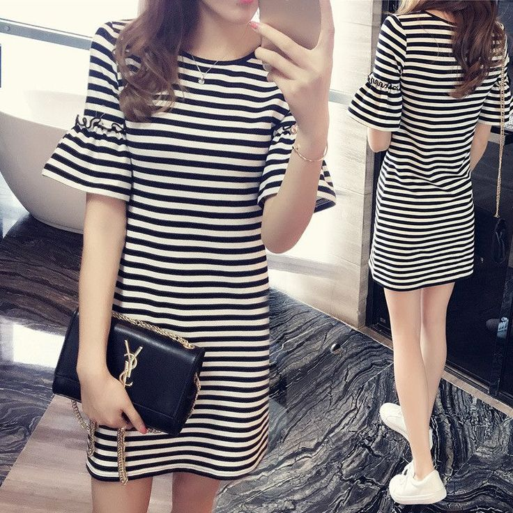 2017 Fashion New Sexy Spring Summer Women Round Neck Fashion Black And White Striped Long Sleeve Straight Plus Size Casual Dress
