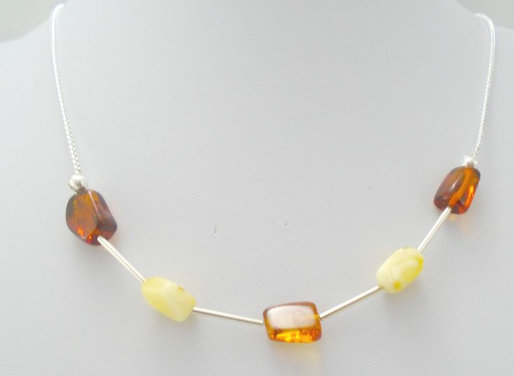 Sterling Silver Amber Necklace, Stacking Amber Beads Necklace, Delicate Baltic Amber Jewelry, Elegant Amber Necklace, Amber Layered Necklace by K8tieSparkles on Etsy