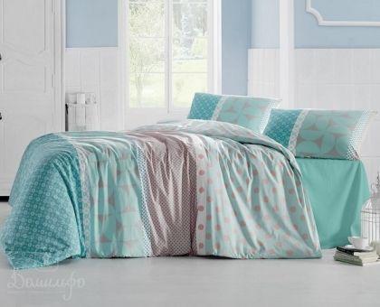 Купить постельное белье RANFORCE ALEDA бирюзовое 50х70 евро от производителя Altinbasak (Турция)