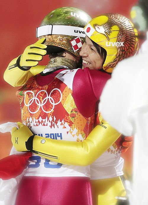 Double Olympic champion Kamil Stoch and Noriaki Kasai - the oldest ski jumper to win an Olympic medal (Sochi games were his 7th Olympic games and he took his first individual medal there)