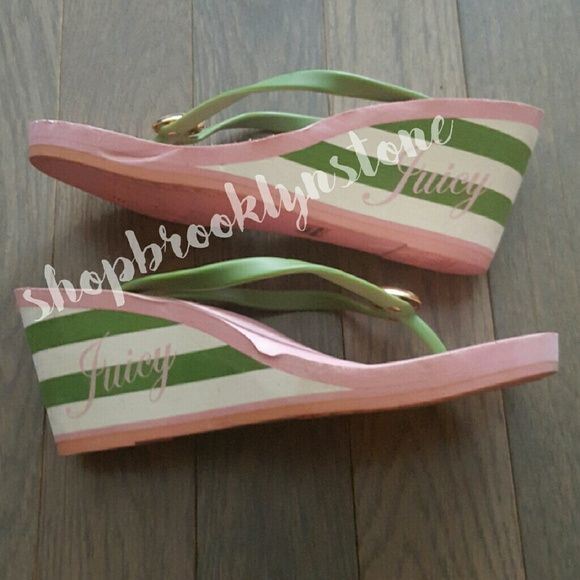 Juicy Couture Green Apple Wedge Flip Flops Pink and green flip flop wedge sandals with gold apple detail. Size 9 Juicy Couture Shoes Wedges