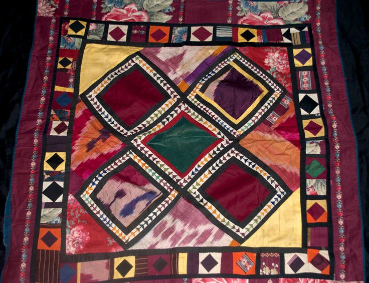 """Tribal Antique Pieced Cotton and Silk Patchwork Textilewith Black Fringe 32"""" x 32"""""""