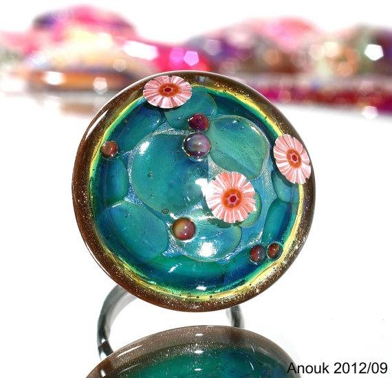 bubbles ringtop sra handmade lampwork focal topper by trolllover