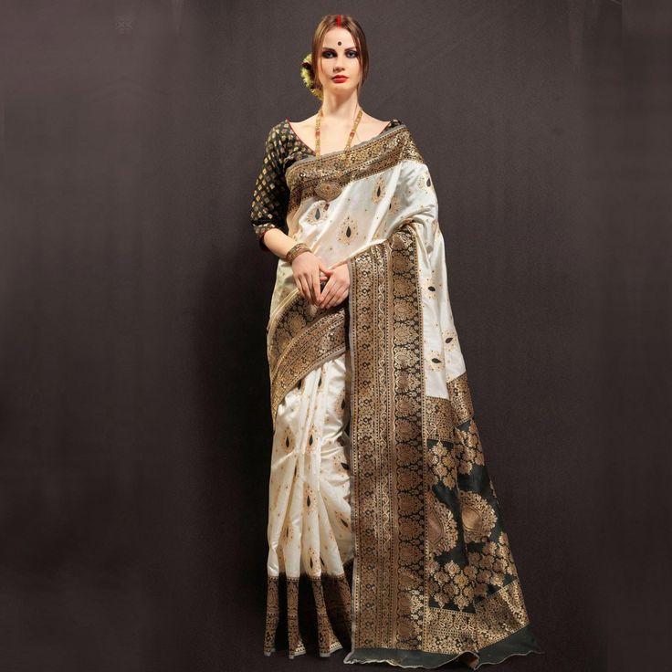 Buy Black - White Weaving Work Silk Saree online India, Best Prices, Reviews - Peachmode