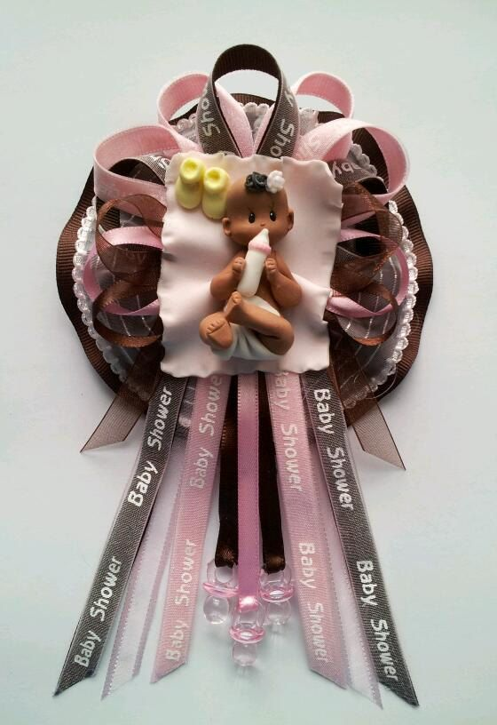 African American Baby Shower Corsage In Pink And Brown By