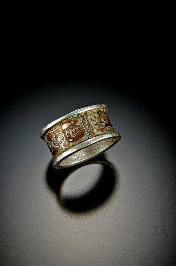 Love this modern mokume gane man's ring