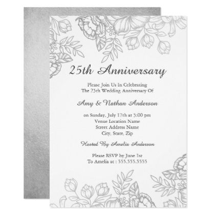 The 25 best 25th anniversary gifts ideas on pinterest 40th elegant silver vintage floral 25th anniversary card invitations custom unique diy personalize occasions solutioingenieria Gallery