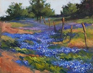 """BLUEBONNETS IN THE HILL COUNTRY by Mary Shepard Oil ~ Image size: 8"""" x 10"""" unframed"""