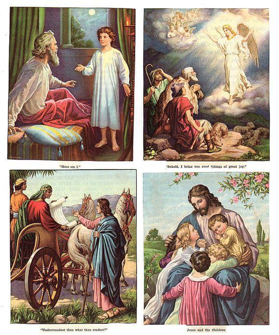 Vintage Christian Bible Story Illustrations Lot of 10 ...