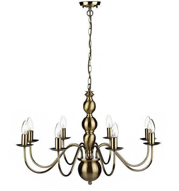 The Vaudeville 8 light pendant has a traditional chandelier design in an antique brass finish. The full Dar lighting range is available from luxury lighting at affordable prices. Lighting to suit all budgets and styles.