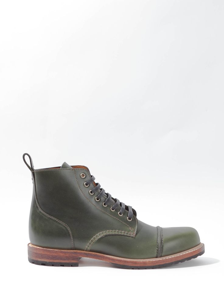 Cap-toe lace-up boot that will last ages. Horween leather with butt seam on toe. Goodyear construction with storm welt. Leather and rubber lug outsole for added traction and comfort. Speed-lace hooks