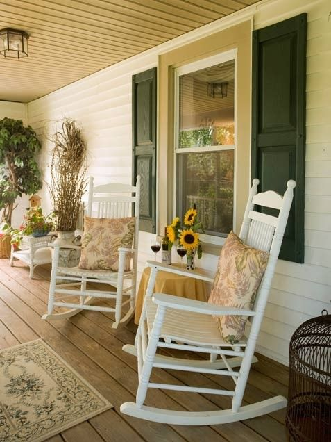 Porch with rockers.
