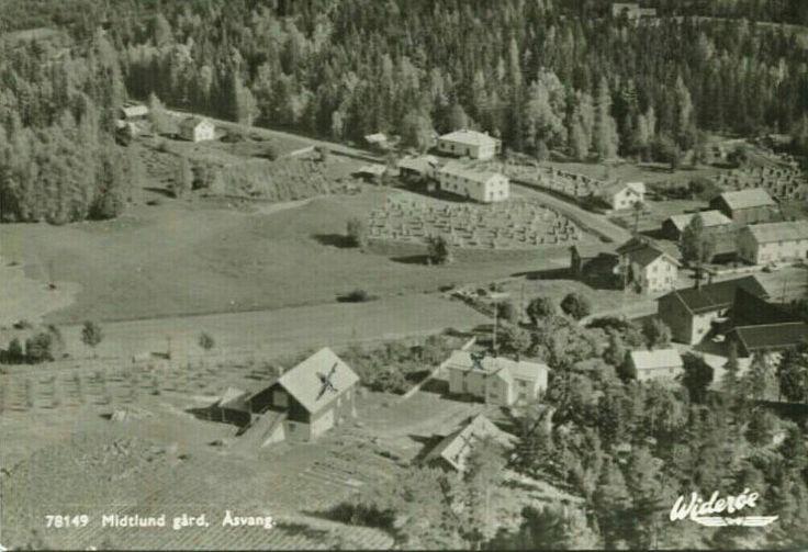 Hedmark fylke Stange kommune Åsvang. Midtlund gård. Utg Widerøe 1950-tallet