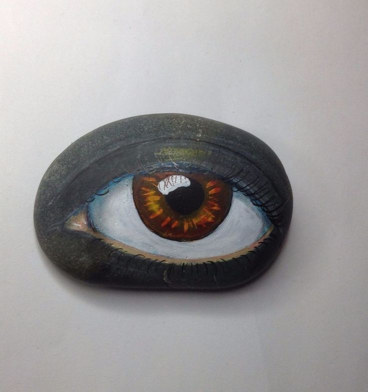 Original painting outsider art big stone Kaveman Hamsa 3rd Eye Rock ooak #OutsiderArt