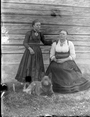 DigitaltMuseum - Portrett av to kvinner i bunad fra Jondalen Telemarksbunad
