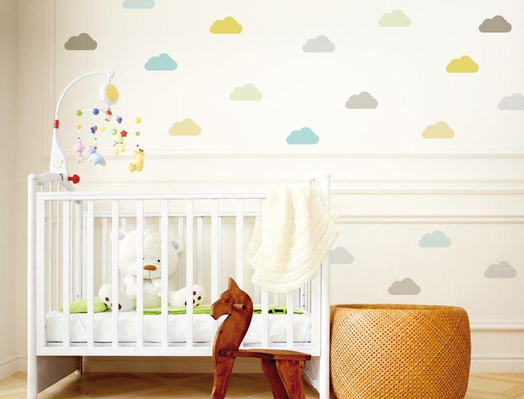 """Wandtattoo Kinderzimmer """"Wolken Pastell Sommer"""