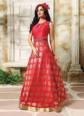 Amaranth Red Floor Length Anarkali Suit