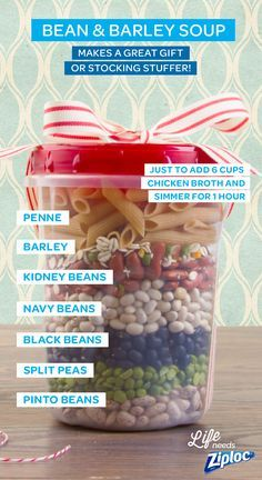 This recipe for bean and barley soup includes penne pasta as well as kidney, navy, black, split pea, and pinto beans. Each ingredient looks great layered in a holiday Ziploc® Twist 'n Loc container. Just add some ribbon and give this soup in a jar as a gift, or stockpile a few for yourself. Try making a few at once so you always have some on-hand for an easy work-night dinner.