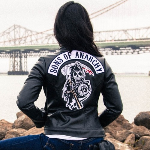 sons of anarchy reaper leather women 39 s jacket soa. Black Bedroom Furniture Sets. Home Design Ideas