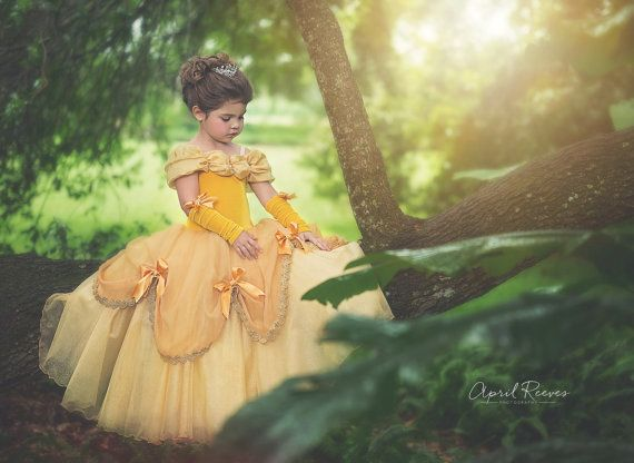 Belle inspired princess costume  size 8 ball gown by primafashions