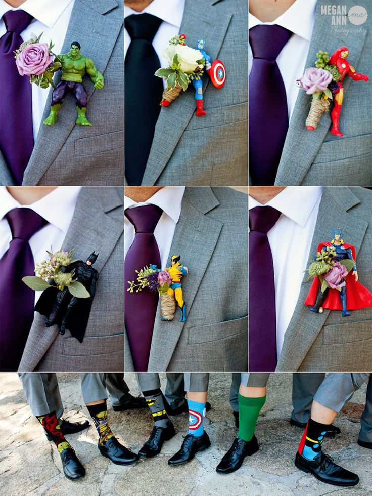 Superhero boutonnieres. Mt. Woodson Castle wedding.