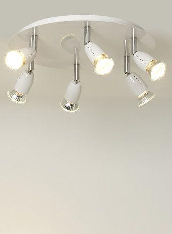 White 6 Light Plate Spotlight