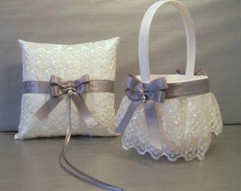 Plum Purple Wedding Bridal Flower Girl Basket and Ring Bearer