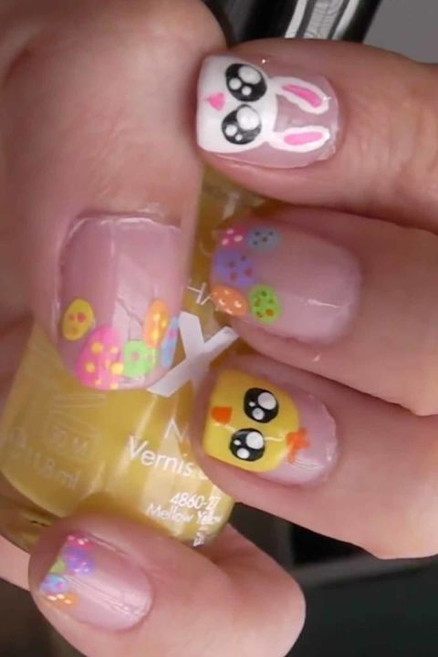 Bunnies & Chicks: If you are looking for super cute Easter nail art, then this design is just for you. Click through to discover more easy and cute Easter nail designs to try this spring.