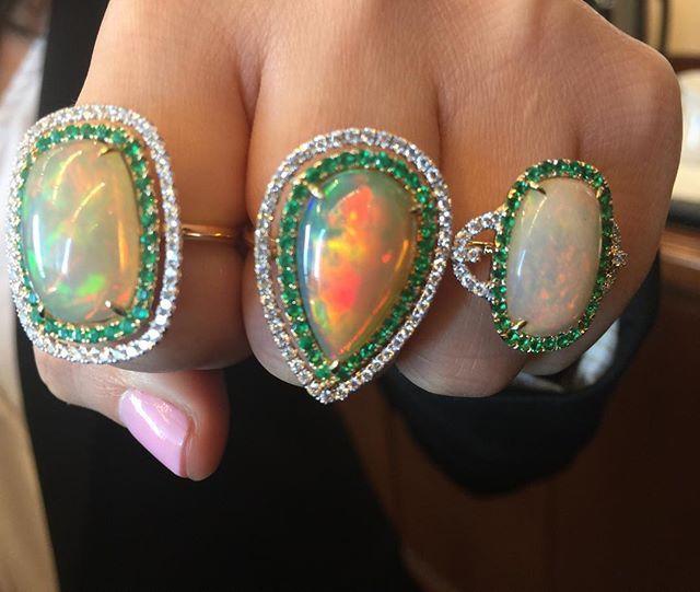 A trio of LeVian Neopolitan Opal rings.