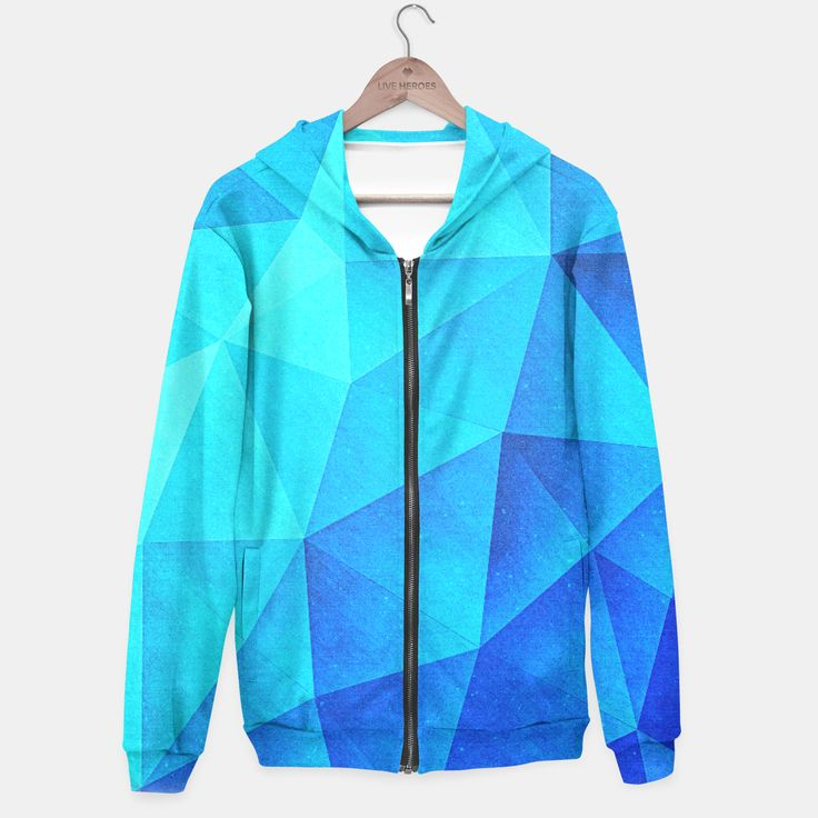 Abstract Polygon Multi Color Cubizm Painting in ice blue Hoodie, Live Heroes