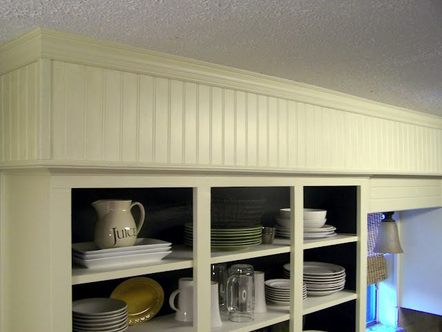 Beadboard soffit diy kitchen inspiration pinterest for Bulkhead over kitchen cabinets