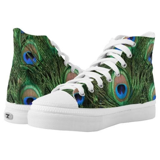 Blue and green Peacock Feather Printed Shoes. Love the bird feather design!