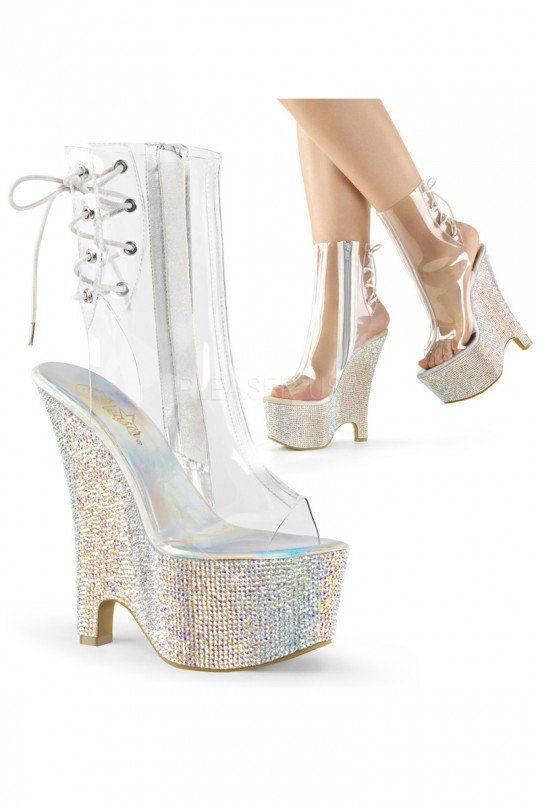 Sexy Clear Silver Open Toe Heel Back Lace-Up Rhinestone Platform Wedges PVC
