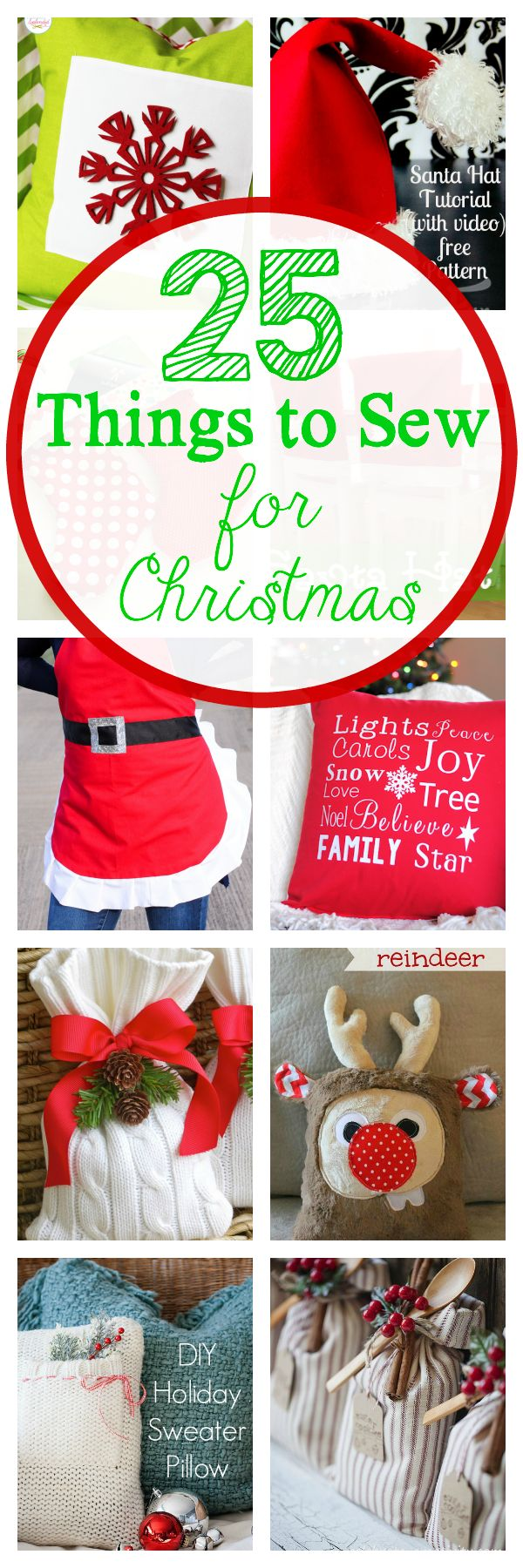 25 great things to sew for Christmas from stockings to tree skirts, aprons, gifts and more via @crazylittleproj