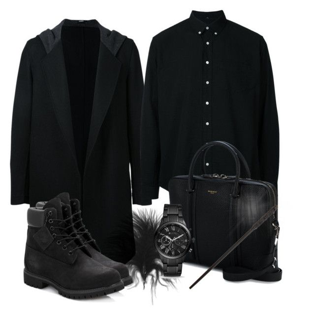 """Snape inspired outfit"" by hogwartsinspired on Polyvore featuring Bassike, Schnayderman's, Givenchy, Timberland, FOSSIL, men's fashion and menswear"