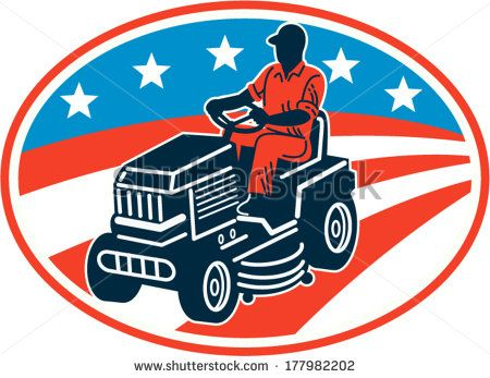 Illustration of American male gardener mowing riding on ride-on lawn mower with stars and stripes flag set inside oval done in retro woodcut style. #gardener #laborday #retro #illustration